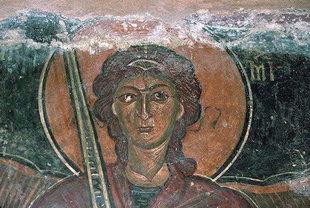Une fresque de Ioannis Pagomenos dans l'église d'Agios Georgios, Komitades