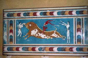 La fresque de l'Acrobate du Taureau provenant des Chambres Supérieures, Knossos