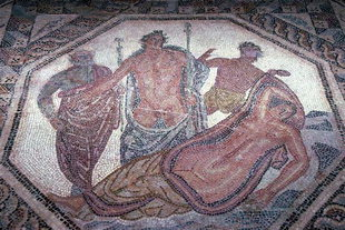 Mosaic floor from a private home, in the museum of Chania