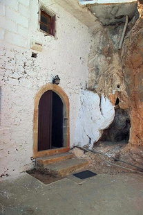 The fortress like entrance to Moni Kapsa