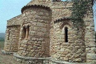 The Panagia Serviotisa Church with its decorative brick work, Stylos