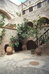 The cloister area of Toplou Monastery