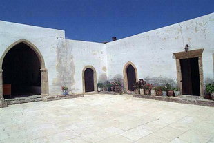 The inner court yard of Toplou Monastery