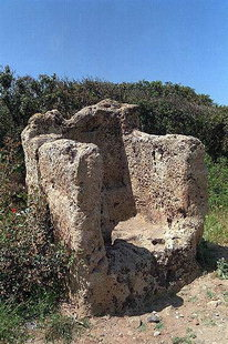 The ancient throne or lectern seat near the site of Falasarna