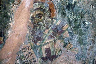 A fresco from the Byzantine church of Agios Stefanos, Drakona