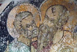 Un affresco della chiesa dei Santi Pietro e Paolo ad Agìa Varvara