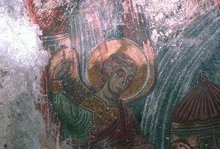 A fresco in the Byzantine church of Agia Anna, Koustogerako