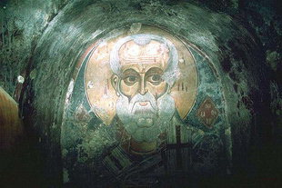 The fresco of Agios Nikolaos by Ioannis Pagomenos in Agios Nikolaos Church, Moni