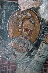 Une fresque de Ioannis Pagomenos dans l'église d'Agios Nikolaos, Moni
