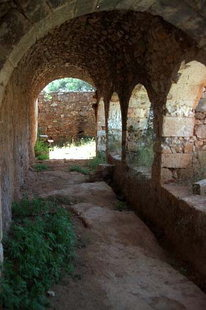 The cloister of the abandoned monastery, Pazinos