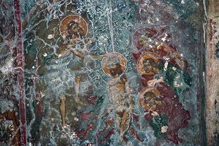 The fresco depicting Christ' s baptism in Agios Ioannis Church in Axos
