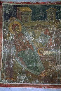 The Nativity fresco in Agios Ioannis Theologos Church in Margarites