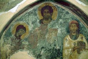 La fresque de Pantocrator de l'église de Metamorphosis de Sotiras, Margarites
