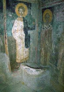 Une fresque dans l'église d'Agios Pandeleimonas, Pigi