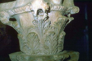 A superimposed Corinthian capital, Agios Pandeleimonas Church, Pigi