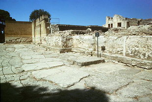 The west facade of the palace and altar base, Knossos