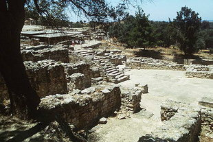 Postpalatial Minoan stairway leading to the town, Agia Triada