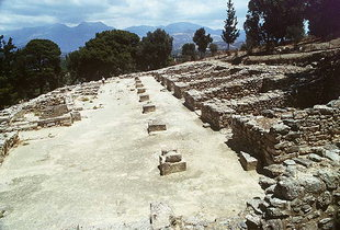 The portico pillar bases of the Agora, Agia Triada