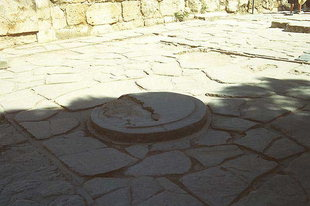 The huge base of the column in the West Entrance, Knossos