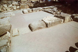 The inner room with its reconstructed red floor, Knossos
