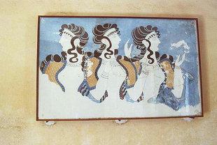 La fresque des Dames en Bleu dans les Chambres Supérieures, Knossos