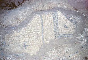 The mosaic floor in the chapel of Agia Irini, Eleftherna