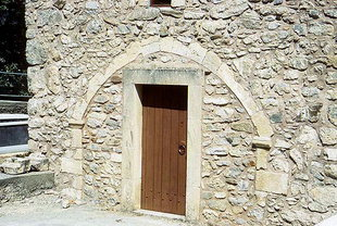A portal in the Panagia Church in Lambiotes