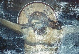 Η τοιχογραφία της Σταύρωσης στην εκκλησία της Παναγίας στους Λαμπιώτες