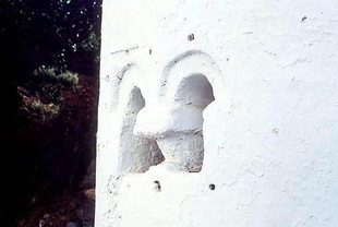 The rear window of the church of the Panagia, Meskla