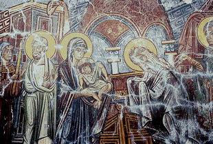 Η τοιχογραφία της  Παρουσίασης στο Ναό από την εκκλησία του Μιχαήλ Αρχάγγελου, Βάθη