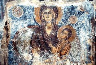 The Panagia Eleousa on the stone altar screen in Michael Archangelos Church, Sarakina