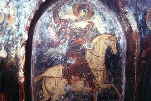 A 13C fresco by Pagomenos, Agios Georgios Church, Anidri