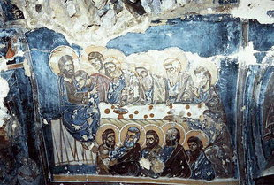 The Last Supper fresco in the Panagia, Smiles