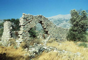 Remains of the three-aisled basilica in Ellinika, Vizari