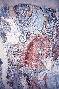 Fresko aus dem 14. Jhdt. in der Panagia-Kirche in Demblohori