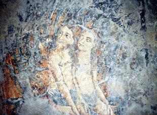 Fresko in der Sotiras Christos-Kirche in Akoumia