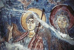 Detail of a fresco in Agios Georgios Church in Vathiako