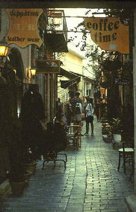 The busy shopping area of Odos Souliou in Rethimnon