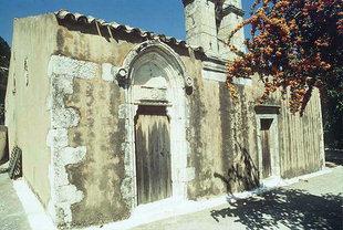 L'artistico portale della chiesa di Panagìa a Meronas