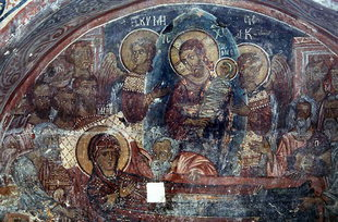 The Dormition of the Virgin Mary fresco in Agios Ioannis Church, Deliana
