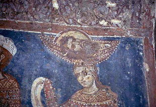 A fresco of John the Baptist's head on a platter in Agios Ioannis Church, Deliana