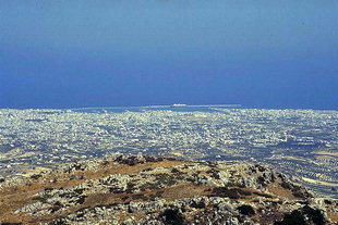 The Iraklion harbour from Mount Youktas