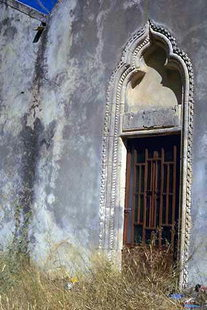The ornate portal of the Panagia Kera Church in Sarhos