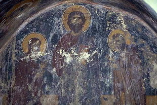 The Pantocrator in the apse of the Panagia Church in Kamariotis