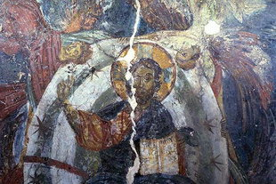 The Pantocrator fresco in the apse of  Agios Georgios Church in Heliana