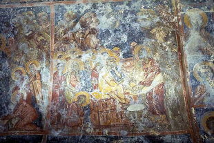 Christ washing the Apostles' feet fresco in the Panagia Church in Kamariotis