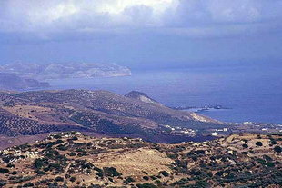 Kastelli harbour seen from ancient Polirinia