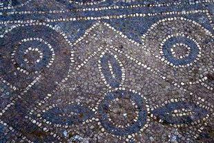 Mosaic floor in church of the Panagia in Agia Roumeli