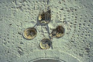 Décorations à rosettes dans l'église d'Agia Triada à Agia Roumeli