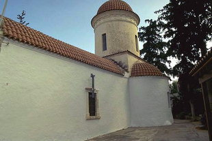 The tall drum and dome of the Panagia in Tsikalaria